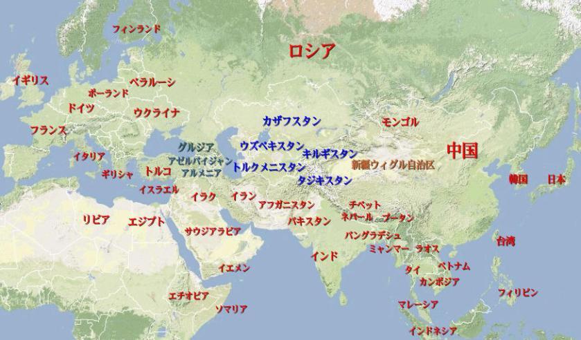 中央アジア世界地図